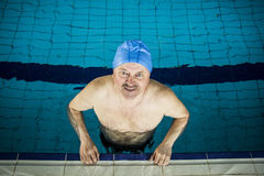 Middle Aged man in Swimming Pool. Middle Aged man in a swimming Pool Royalty Free Stock Images