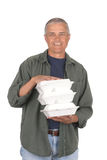 Middle Aged Man with Take out Food Containers Royalty Free Stock Images