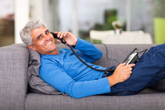 Middle aged man telephone Royalty Free Stock Images