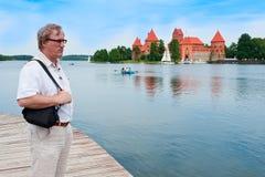 Middle-aged man in Trakai, Lithuania Stock Photo