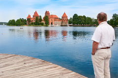 Middle-aged man in Trakai, Lithuania Stock Images