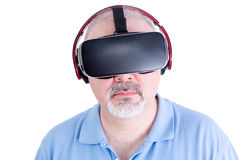 Middle aged man with virtual reality headset Royalty Free Stock Photo