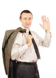 Middle-aged man is waving his hand Stock Photography