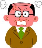 A middle-aged man wearing an angry suit with a flushed face vector illustration