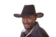 Middle aged man wearing a cowboy hat Royalty Free Stock Photo