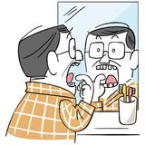 A middle-aged man who is concerned about tooth decay vector illustration