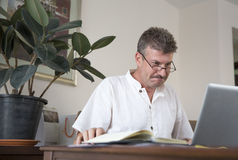 Middle aged man working at this computer at his home office Stock Photo