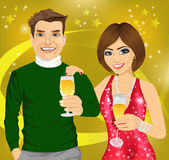 Middle-aged man and young woman celebrate with wine glasses in their hands Stock Images