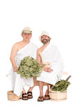 Middle-aged men in Russian sauna bathing costumes Royalty Free Stock Photos