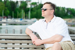 Middle aged men in sunglasses Stock Photo