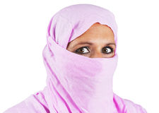 Middle aged muslim woman in pink Royalty Free Stock Photos
