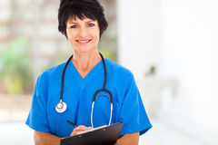 Middle aged nurse. Beautiful middle aged medical nurse in hospital office Royalty Free Stock Image