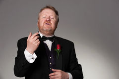 Middle aged opera singer performing. Bearded mature opera singer, sings passionately Stock Photos
