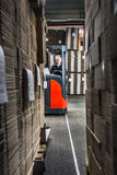 Middle aged reach truck driver Royalty Free Stock Image