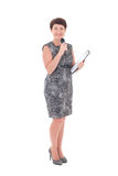 middle aged reporter with microphone Royalty Free Stock Photos