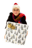 Middle aged santa woman, gift Stock Image