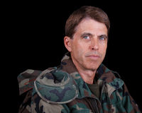 Middle Aged Soldier. Closeup portrait of a middle aged army veteran at rest stock photography