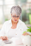 Middle aged woman accounts. Beautiful middle aged woman doing her accounts at home stock photography