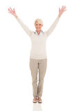 Middle aged woman arms open Royalty Free Stock Photo