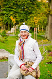 Middle-aged woman in autumn Park Stock Images