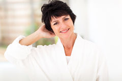 Middle aged woman bathrobe Royalty Free Stock Photo