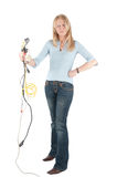 Middle aged woman with cables and plugs Royalty Free Stock Image