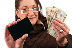Woman Holding Cash and Credit Card Stock Photo