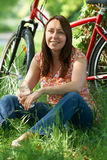 Middle Aged Woman On Cycle Ride In Countryside Royalty Free Stock Image