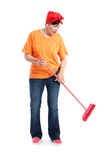Middle aged woman dancing and cleaning Royalty Free Stock Photography