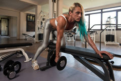 Middle Aged Woman Doing Back Exercises Royalty Free Stock Photos