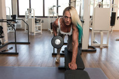 Middle Aged Woman Doing Exercise For Back Royalty Free Stock Image
