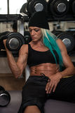 Middle Aged Woman Doing Exercise For Biceps Royalty Free Stock Images