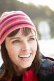 Middle Aged Woman Dressed For Cold Weather Royalty Free Stock Photos