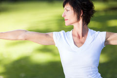 Middle aged woman exercise Stock Photography