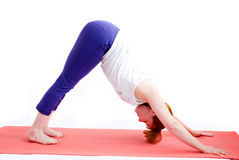 Middle aged woman exercise yoga Stock Image