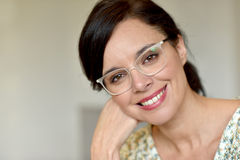 Middle-aged woman with eyeglasses Royalty Free Stock Photos