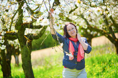 Middle aged woman in garden on a spring day Stock Image