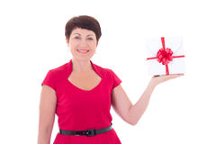 Middle aged woman with gift isolated on white Stock Photography