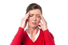 Middle aged woman having headache Stock Photo