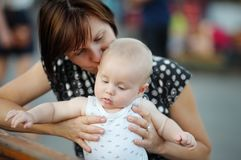 Middle aged woman and her adorable little grandson Royalty Free Stock Photography