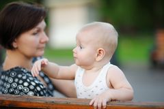 Middle aged woman and her adorable little grandson Royalty Free Stock Photo
