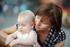 Middle aged woman and her adorable little grandson Stock Image