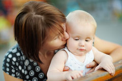 Middle aged woman and her adorable little grandson Royalty Free Stock Photos