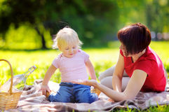 Middle aged woman and her little grandson having a picnic in par Stock Images