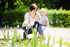 Middle aged woman and her little grandson in sunny park Stock Photography