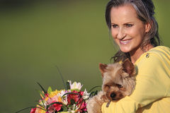 Middle-Aged Woman and Her Yorkie Stock Image