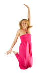 Middle-aged woman jump Stock Photography