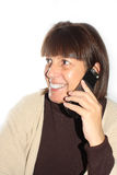 Middle-Aged Woman laughing on the telephone Stock Photos