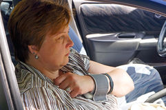 Middle-aged woman measure blood pressure Royalty Free Stock Images