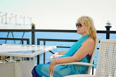 Middle aged woman near the sea Royalty Free Stock Photography